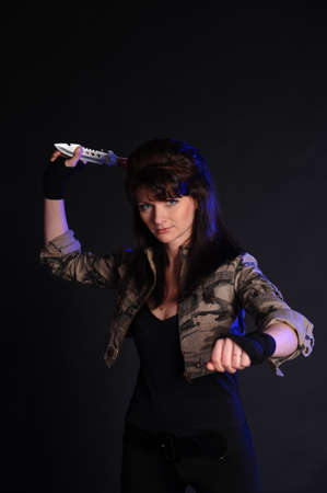armed with a knife girl photo