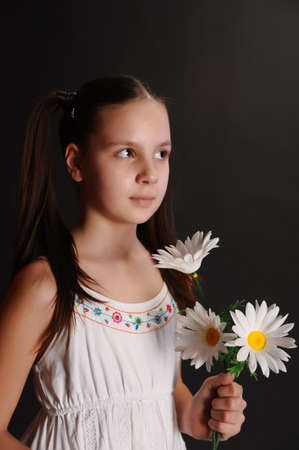 pocahontas: girl with daisies Stock Photo