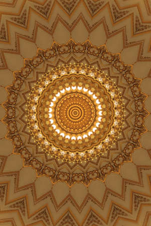 kaleidoscope: golden circular pattern Stock Photo