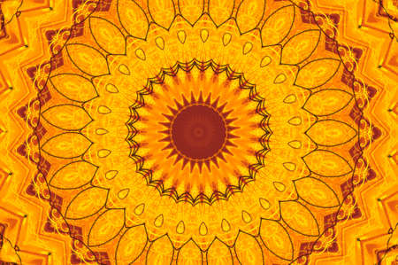 kaleidoscope: Abstract fractal kaleidoscope in bright warm colors of yellow and orange.