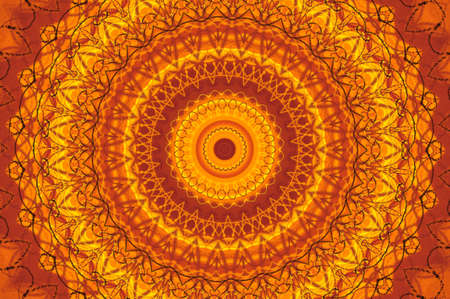 japanese fall foliage: Abstract fractal kaleidoscope in bright warm colors of yellow and orange.