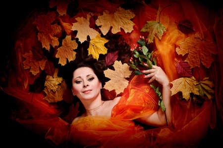 Autumn woman studio photo