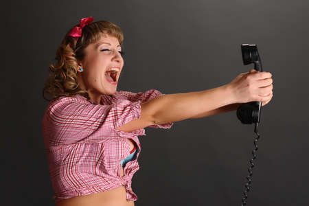 the girl screaming in the phone Stock Photo - 9399784