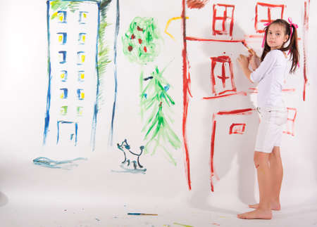 painted image: drawing a girl on the wall Stock Photo