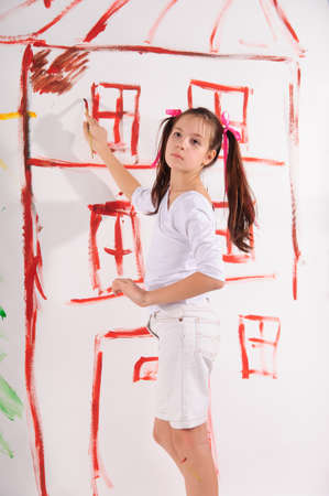 drawing a girl on the wall photo