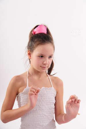 Girl sur un fond blanc avec bulles Banque d'images