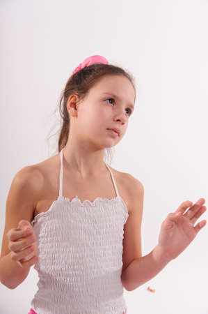 girl on a white background with bubbles photo