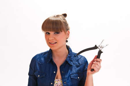 girl with pliers photo