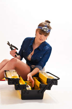Girl with tools Stock Photo - 9330475