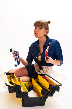 Girl with tools Stock Photo - 9330638