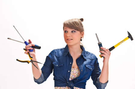 Girl with tools Stock Photo - 9330477