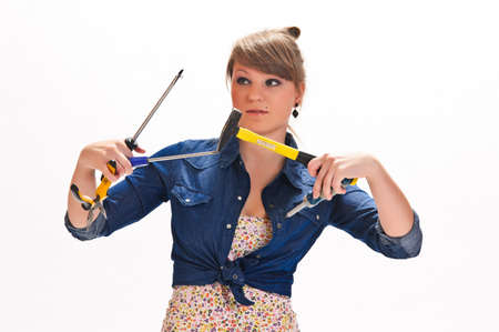 Girl with tools  Stock Photo - 9324413