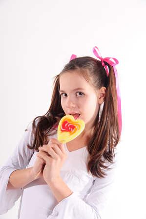 only teenage girls: girl with big lollipop