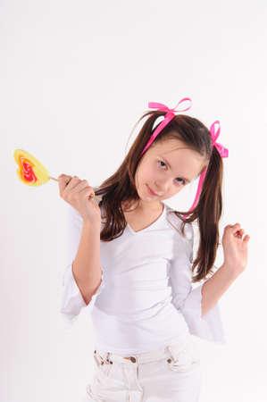 paletas de caramelo: chica con gran c�rculo