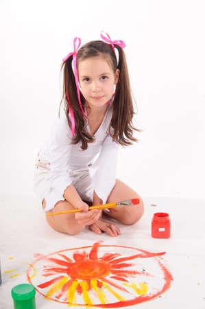 Schoolgirl painting Stock Photo - 9357661