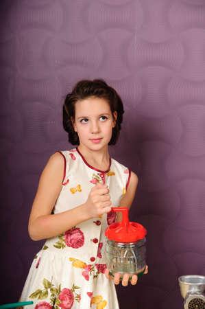 Girl with blender photo