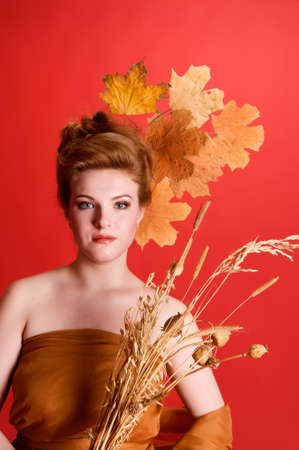 Autumn portrait in studio photo