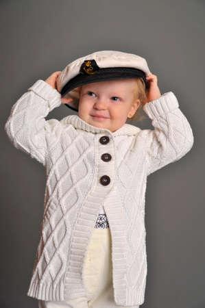 little girl in a sea cap Stock Photo - 9374206