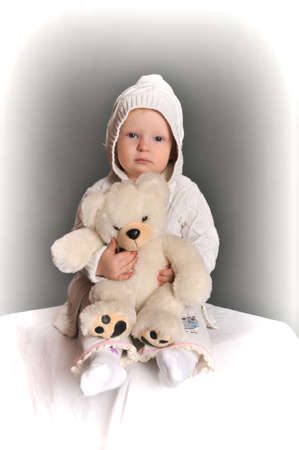 baby and teddy bear Stock Photo - 9381330