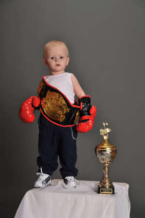 combative sport: young boxer