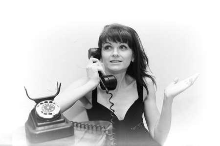 girl speaking on the phone retro Stock Photo - 10014173