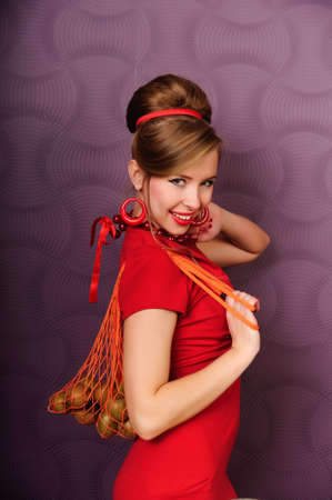 girl with a shopping bag for food Stock Photo - 13731609