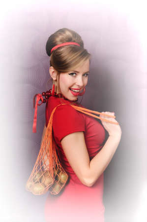 girl with a shopping bag for food Stock Photo - 13731605