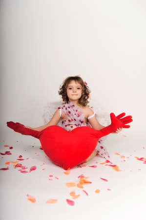 feather boa: cherub with a heart