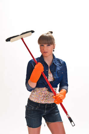 girl with a mop Stock Photo - 10114466