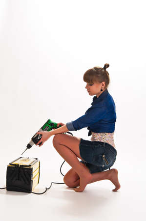 girl with a drill photo
