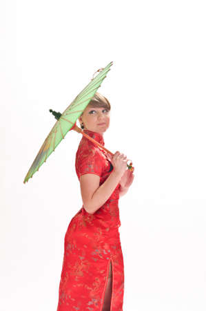 Chinese girl with umbrella photo