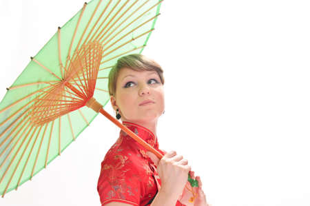 qipao: Chinese girl with umbrella Stock Photo