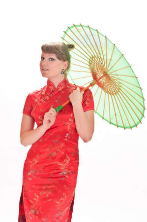 Chinese girl with umbrella Stock Photo - 10792513