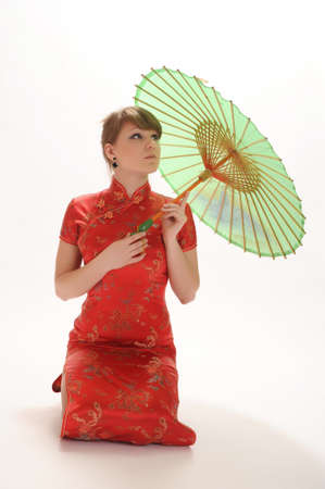 Chinese girl with umbrella