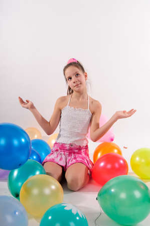 Girl and balloons photo
