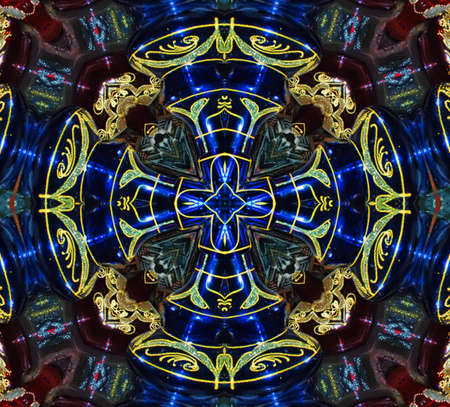 blue and green circular pattern mandala photo