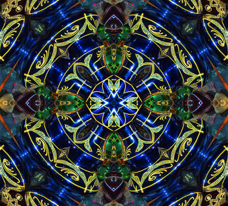 stained: blue and green circular pattern mandala