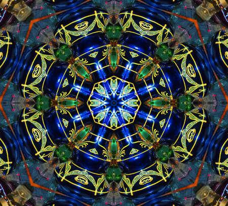 blauwe en groene circulaire patroon mandala