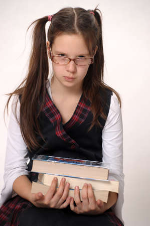 cute teen girl: Girl student with books