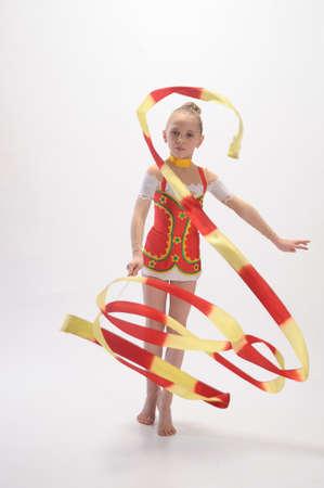 calisthenics: Gymnast with Ribbon Stock Photo