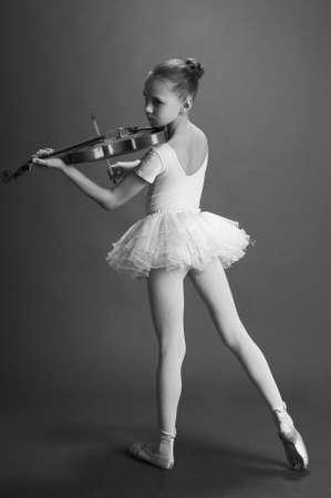Ballerina Girl with violin Stock Photo - 9423725
