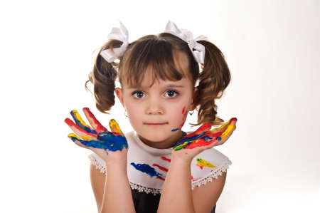 Little girl with her hands painted Stock Photo - 9421508