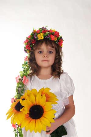 Ukrainian girl wreath and sunflower Stock Photo - 9422003