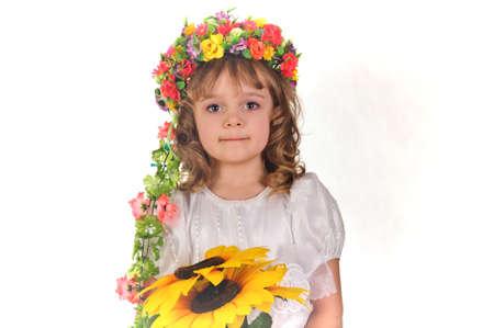 Ukrainian girl wreath and sunflower Stock Photo - 9421984