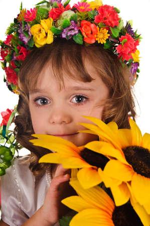 Ukrainian girl wreath and sunflower photo