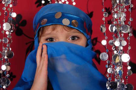 eyes a little girl in eastern dress photo