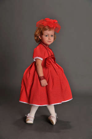 well-dressed little girl in red dress Stock Photo - 13731972