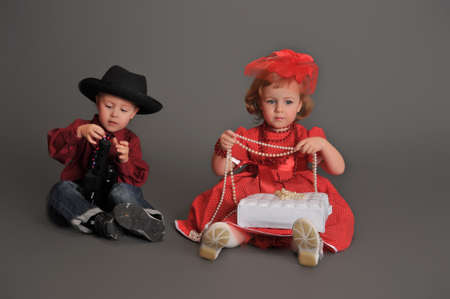 boy and girl in retro style in the studio  photo