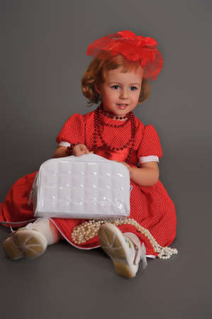 well-dressed little girl in red dress Stock Photo - 13731954