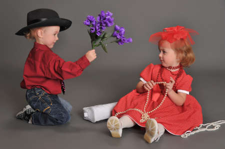 boy and girl in retro style in the studio Stock Photo - 13731984